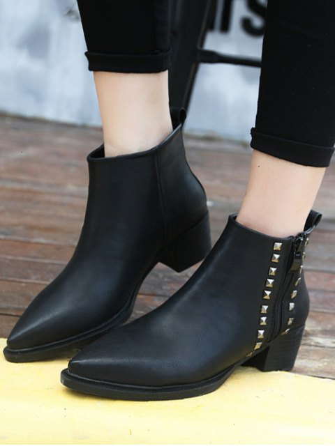 shop Metal Rivets Zipper Pointed Toe Ankle Boots - BLACK 39 Mobile