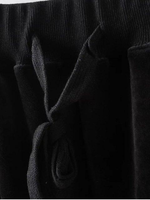 outfit Plus Size Velvet Jogging Pants - BLACK XL Mobile