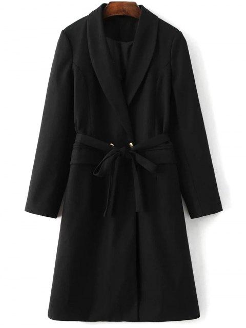 fashion Wool Blend Shawl Coat - BLACK L Mobile