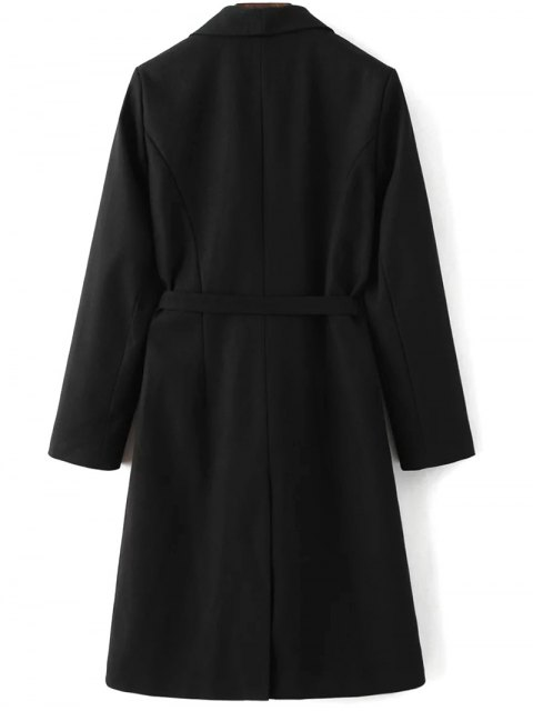 fashion Wool Blend Shawl Coat - BLACK L Mobile