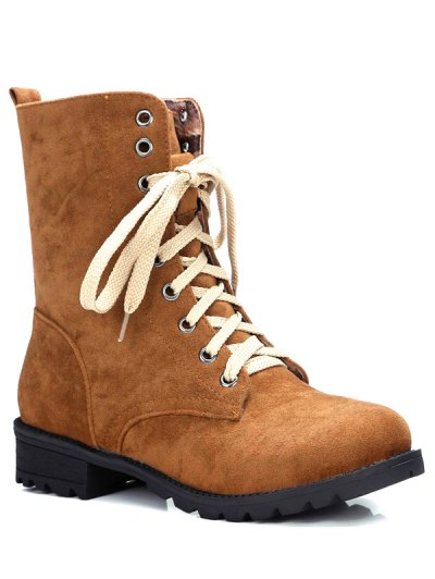 Lace-Up Solid Colour Combat Boots - BROWN 38 Mobile