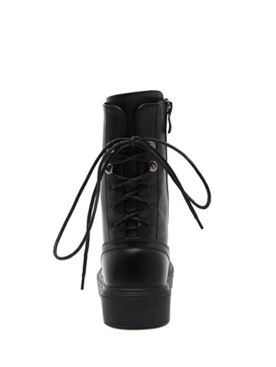 Zip Platform Short Tie Up Boots - BLACK 37 Mobile