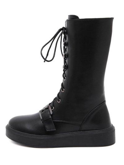 Buckle Platform Lace-Up Mid-Calf Boots - BLACK 39 Mobile
