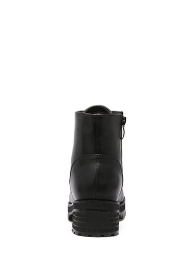 Tie Up PU Leather Chunky Heel Ankle Boots - BLACK 37 Mobile