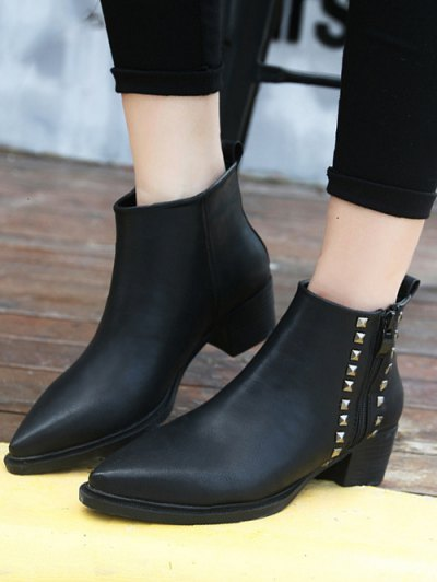 Metal Rivets Zipper Pointed Toe Ankle Boots - BLACK 39 Mobile