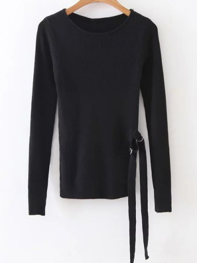 Round Neck Ribbed Sweater