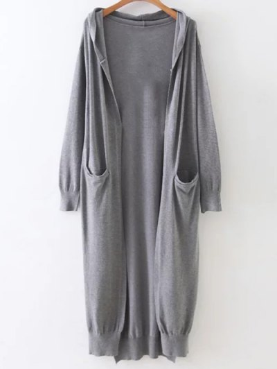 Hooded Duster Cardigan - GRAY ONE SIZE Mobile