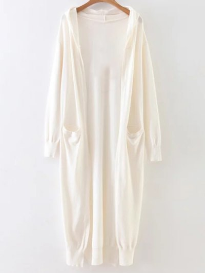 Hooded Duster Cardigan - WHITE ONE SIZE Mobile