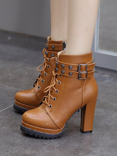Double Buckle Lace-Up Metal Ankle Boots - LIGHT BROWN 39 Mobile