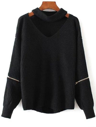 Cut Out Chunky Choker Sweater - Black