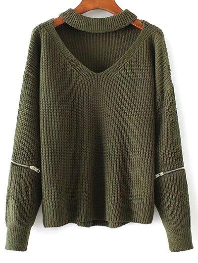 Cut Out Chunky Choker Sweater - Green