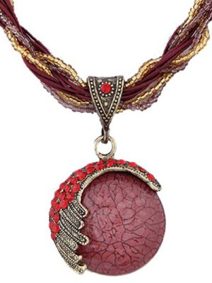 Faux Gem Multilayered Ethnic Style Necklace - Red