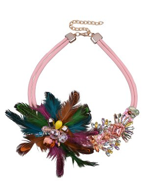 Flower Feather Fake Crystal Necklace