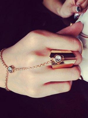 Geometry Rhinestone Charm Ring - Rose Gold