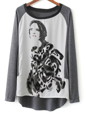 Raglan Sleeve Ink Painting T-Shirt - Grey And White