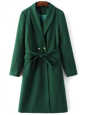 Wool Blend Shawl Coat - Green
