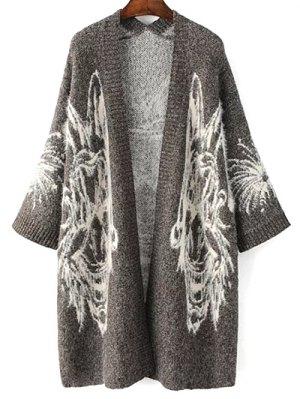 Jacquard Knit Oversized Cardigan - Gray