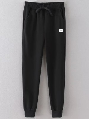 Emoticon Patched Jogging Pants - Black