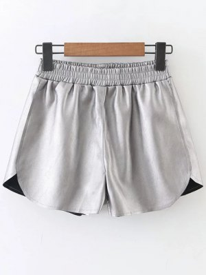 Elastic Waist Faux Leather Shorts - Silver