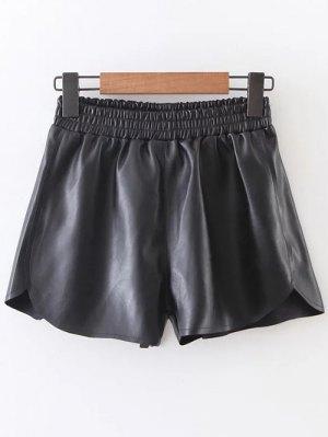 Shorts De Cuero Elástico De La Cintura Faux - Negro