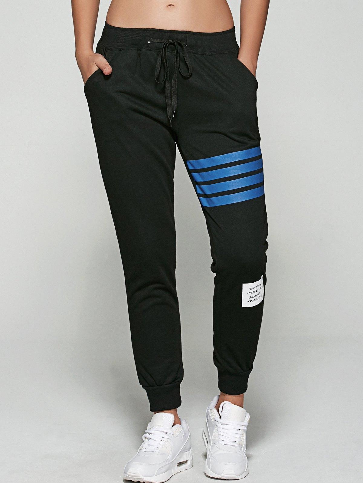 Sporty Striped Letter Applique Jogger Pants