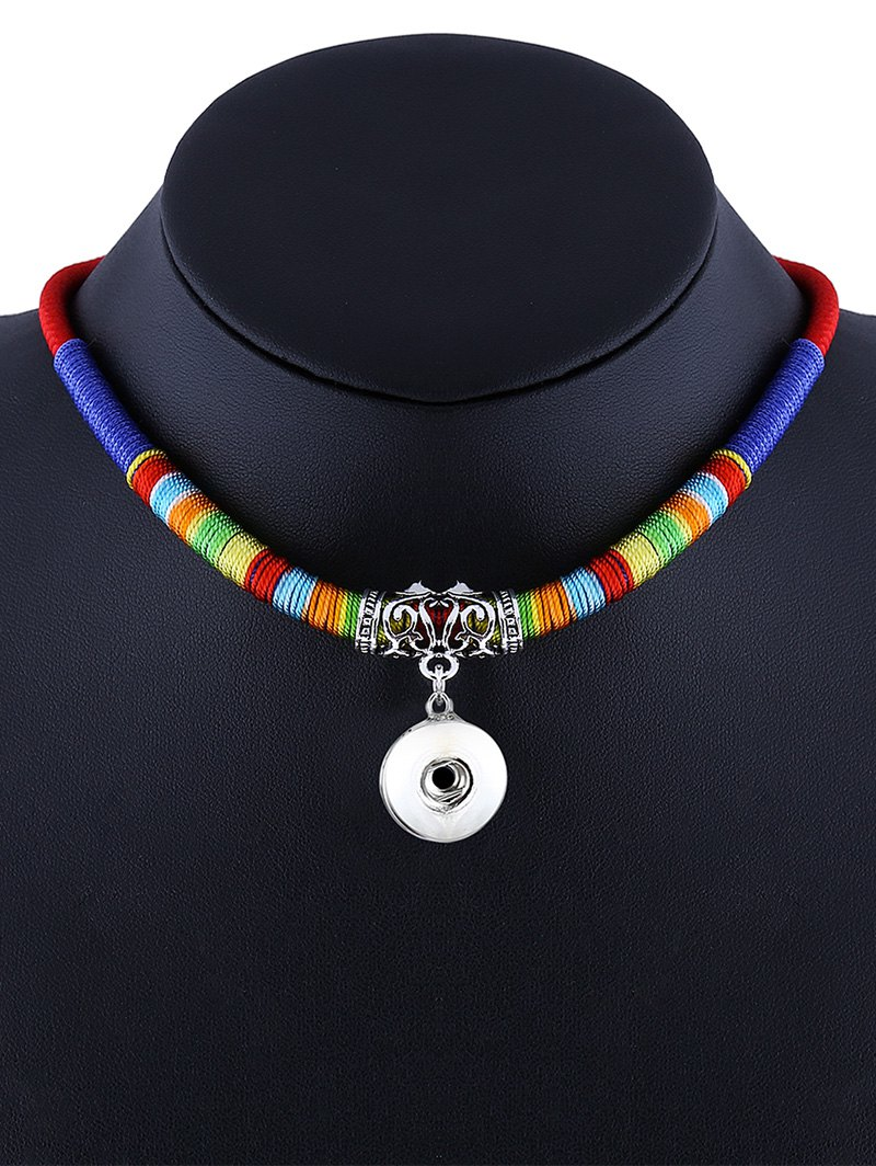 Carved Alloy Ethnic Rope Pendant Necklace