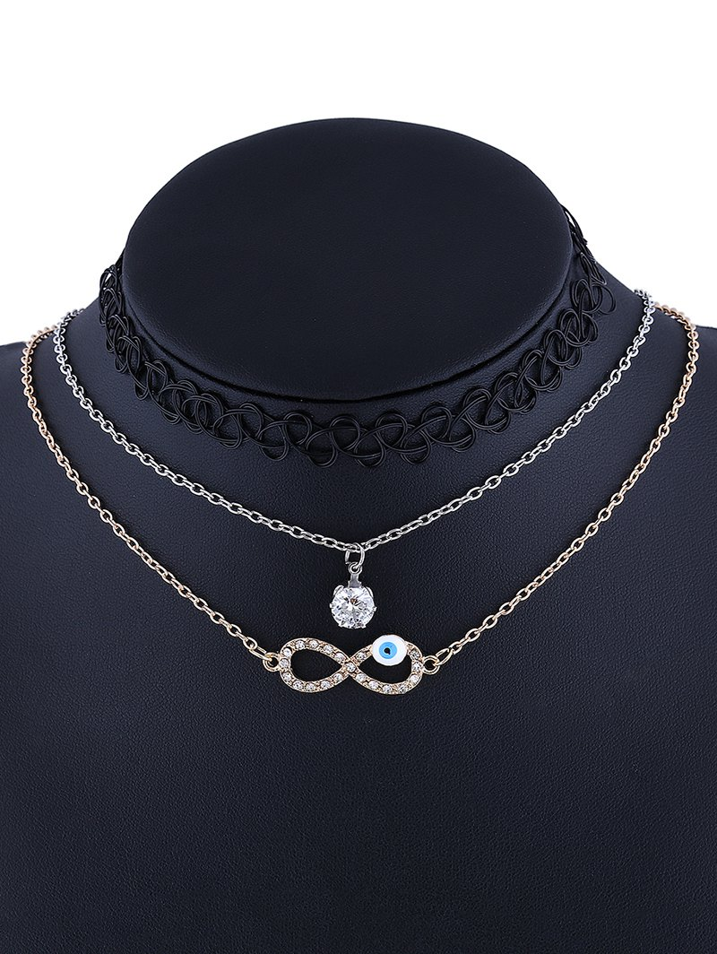 3 Pcs Rhinestone Infinity Tattoo Necklaces