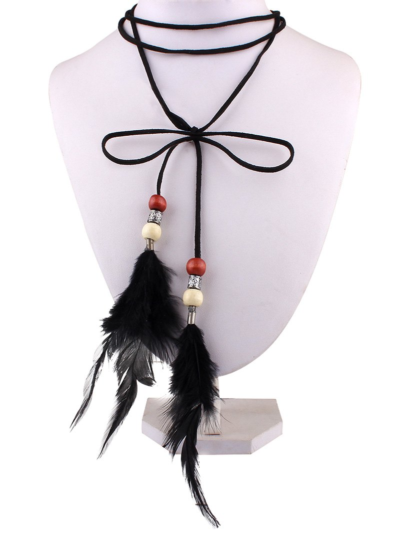 Faux Leather Velvet Bows Feather Choker