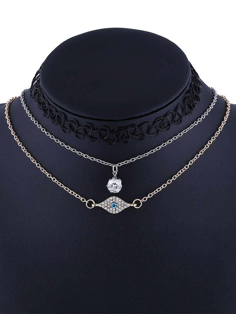 3 Pcs Rhinestone Eye Tattoo Choker Necklaces