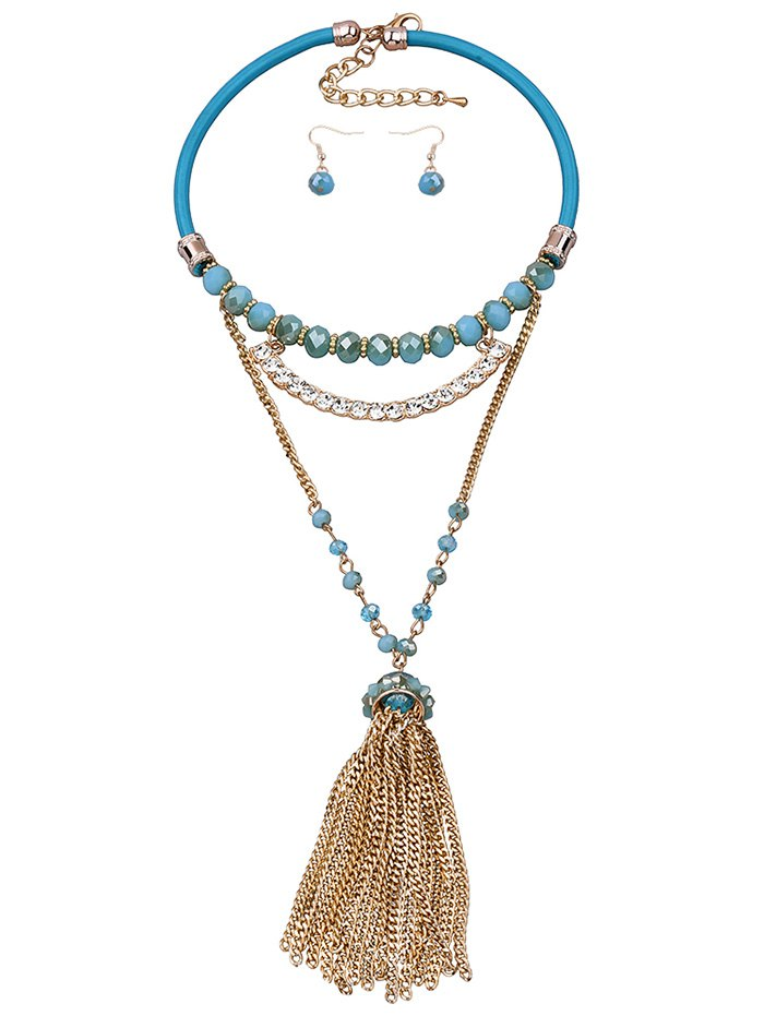 Rhinestone Faux Crystal Gold Plated Jewelry SetAccessories<br><br><br>Color: BLUE