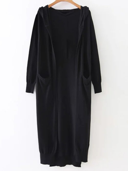 Hooded Longline Cardigan With Pockets