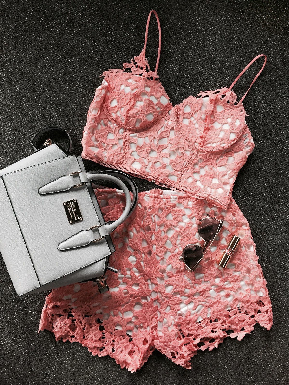 Lace Crop Top and Shorts