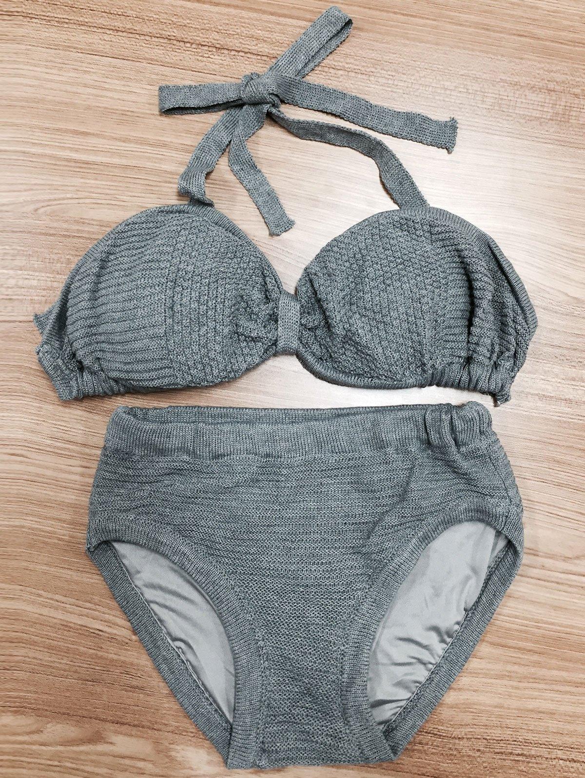 Halterneck Bow Knit BikiniSwimwear<br><br><br>Size: L<br>Color: GRAY