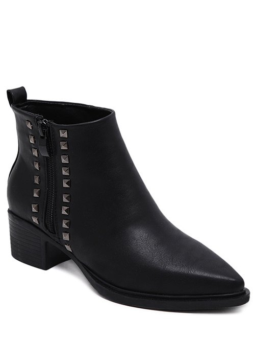 Metal Rivets Zipper Ankle Boots