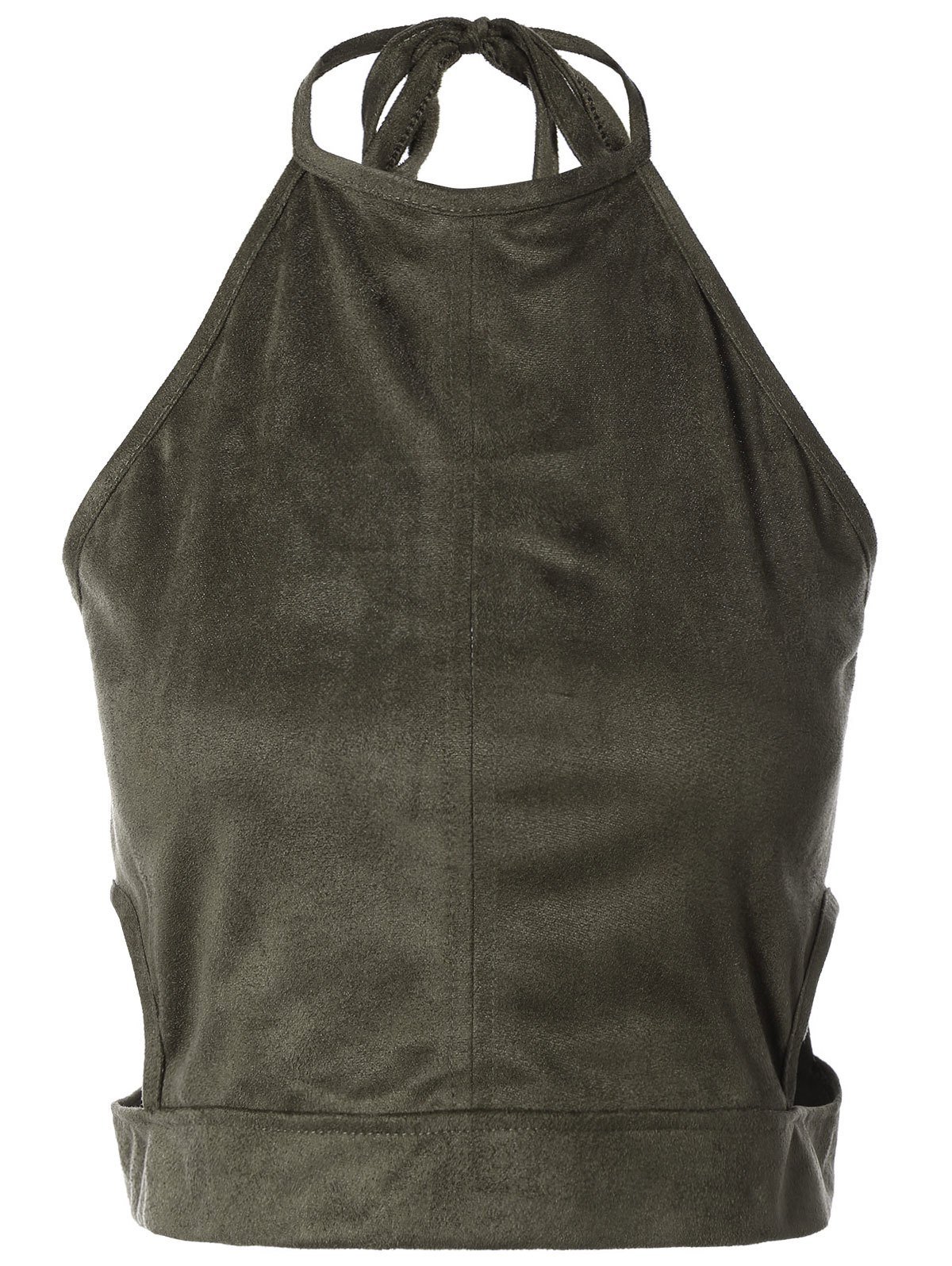 Faux Suede Smocked Tank Top