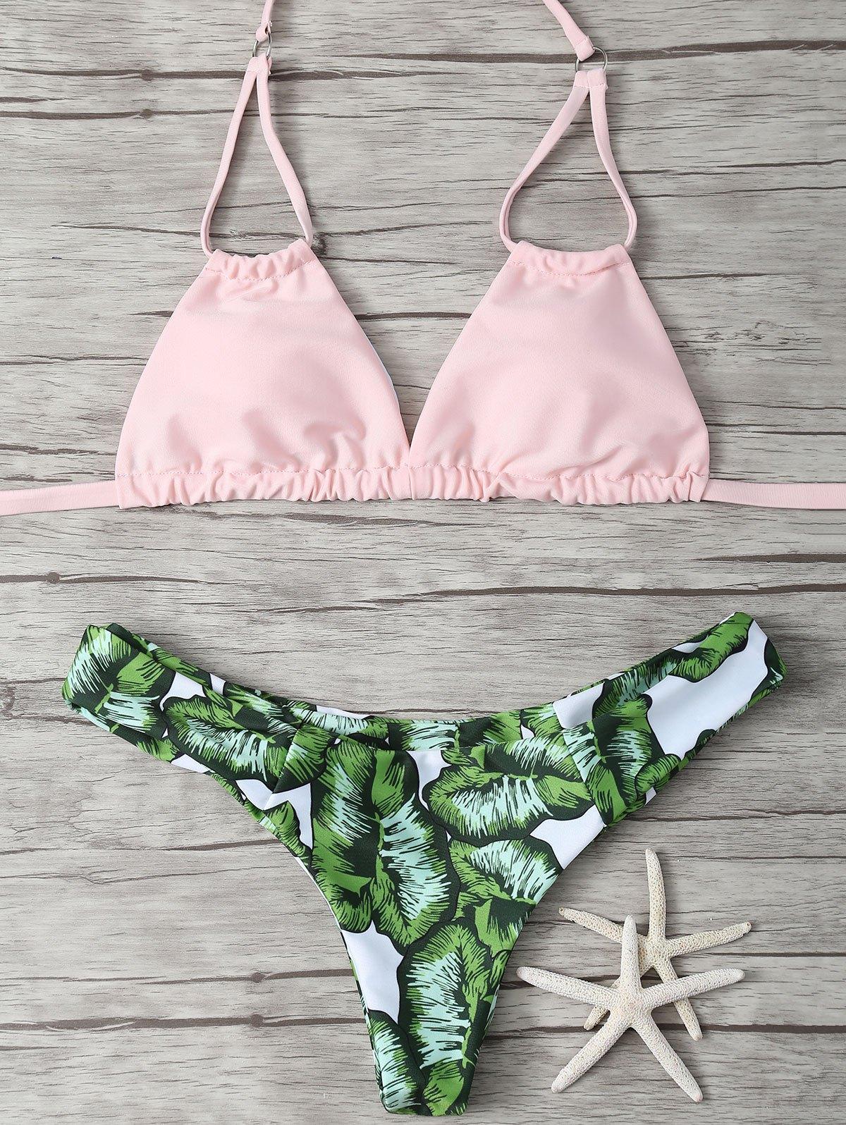 Leaf Print Padded Bikini Set