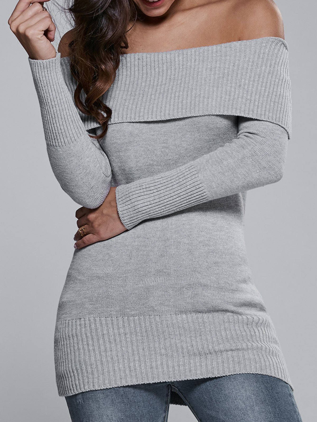 Off The Shoulder Long Sleeve Sweater Dress