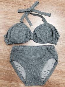 Halterneck Bow Knit Bikini