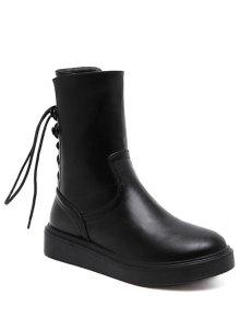 Buy Zip Platform Short Tie Boots 37 BLACK