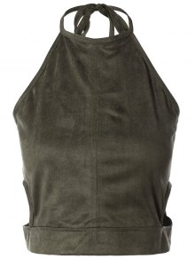 Smocked Faux Suede Tank Top