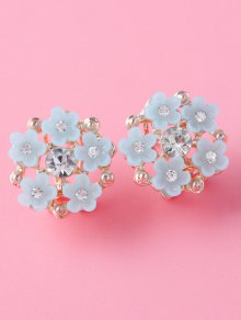 Rhinestone Flower Adorn Earrings - Gray