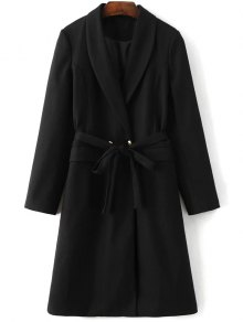 Wool Blend Shawl Coat - Black S