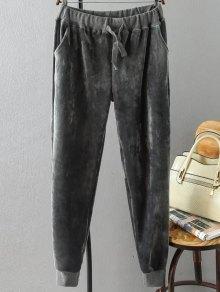 Plus Size Velvet Jogging Pants - Gray 3xl