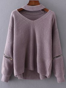Cut Out Chunky Choker Sweater - Light Purple