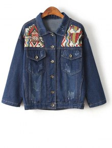 Denim Jacket With Yoke Patches - Blue S