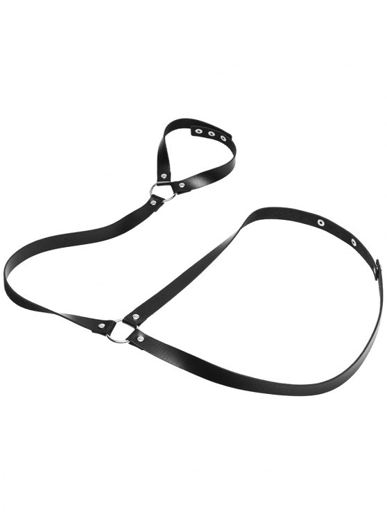 Faux Leather Body Chain - BLACK  Mobile