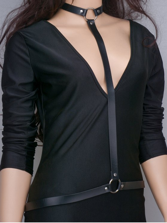 shops Faux Leather Body Chain - BLACK