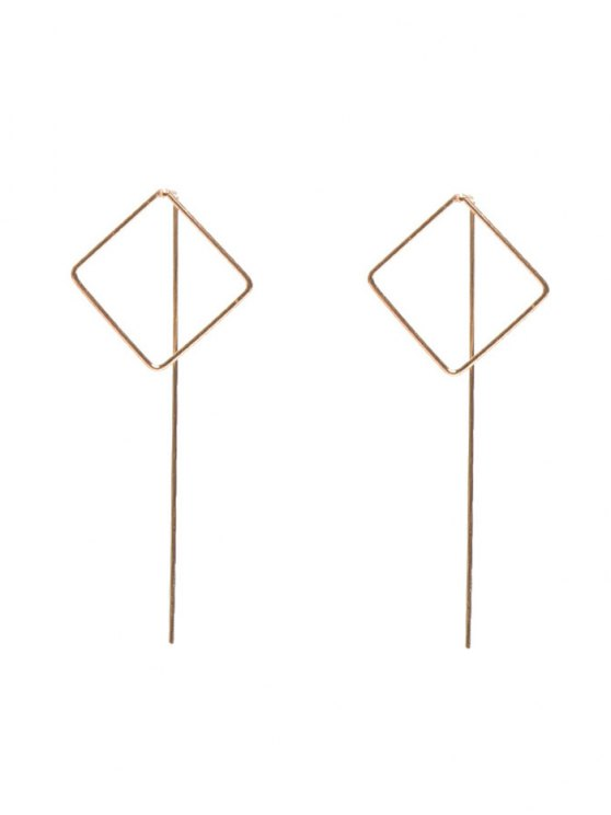 Hollow Out Square Earrings - GOLDEN  Mobile