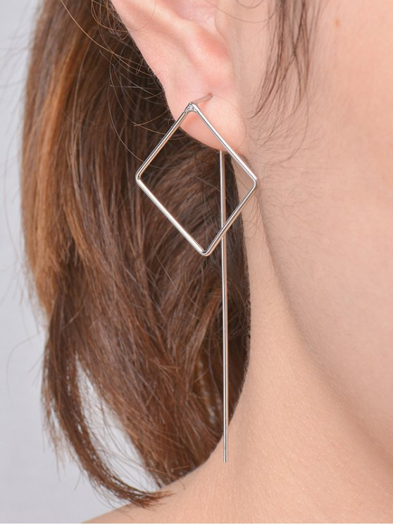 Hollow Out Square Earrings - SILVER  Mobile