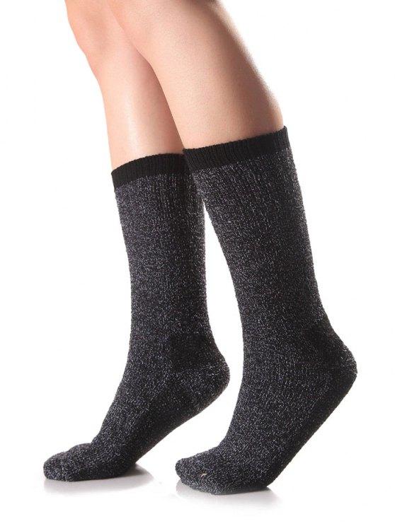 Chaussettes en tricot bord de bonbon - Noir